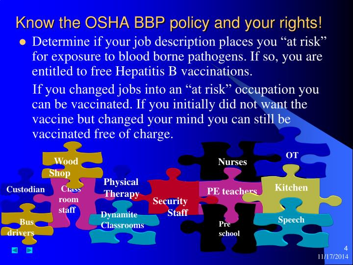 Know the OSHA BBP policy and your rights!