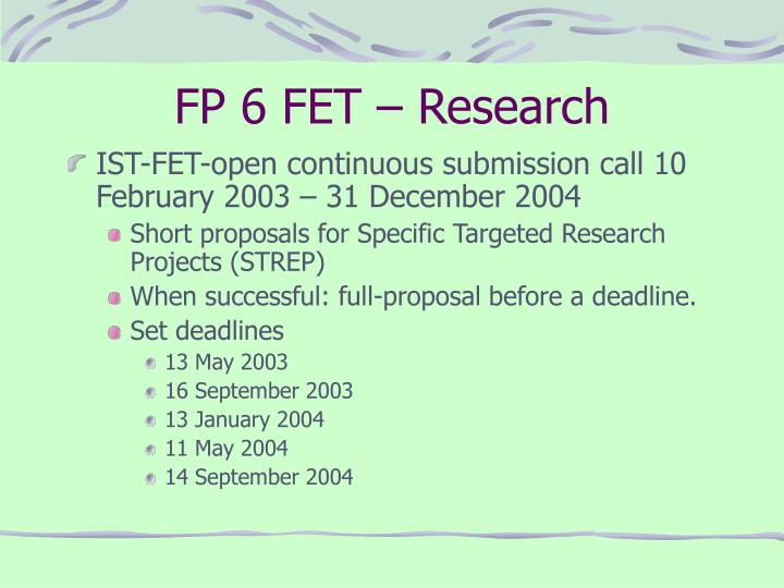 Fp 6 fet research
