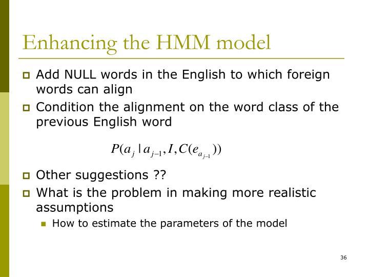 Enhancing the HMM model