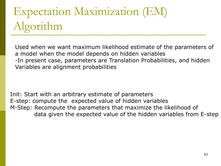 Expectation Maximization (EM) Algorithm