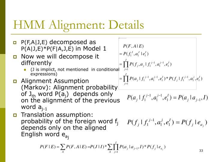 HMM Alignment: Details