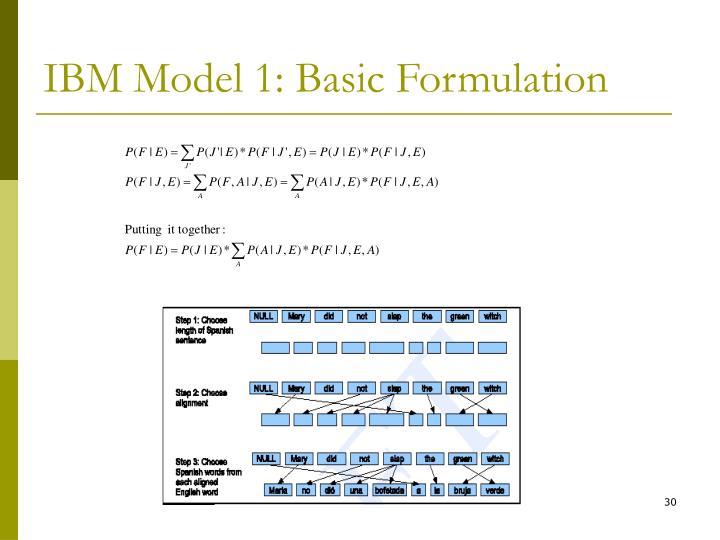 IBM Model 1: Basic Formulation