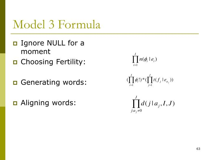 Model 3 Formula