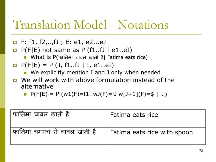 Translation Model - Notations