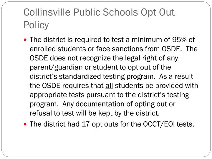 Collinsville Public Schools Opt Out Policy