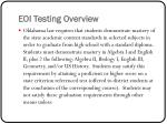 eoi testing overview