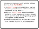 transitioning to college and career readiness standards common core from the sde