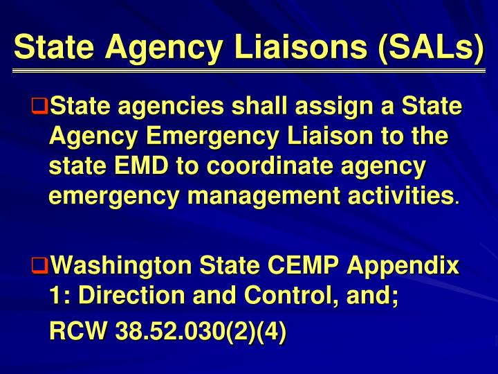 State Agency Liaisons (SALs)