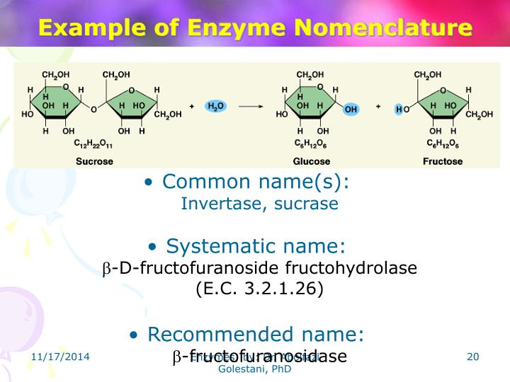 Example of Enzyme Nomenclature