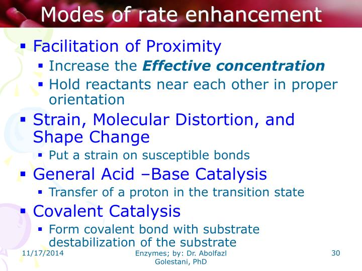 Modes of rate enhancement