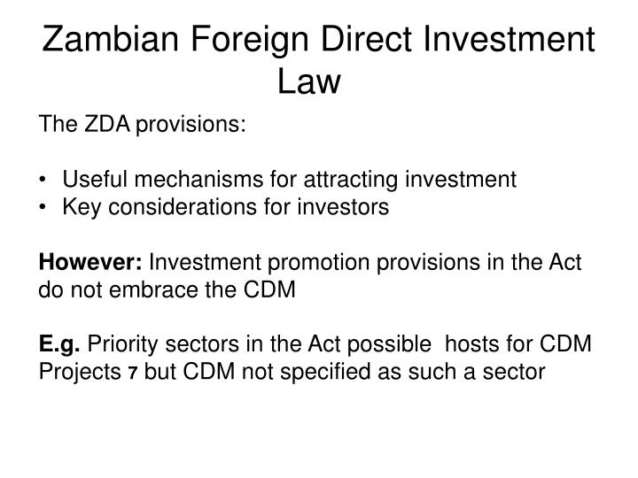 Zambian Foreign Direct Investment Law
