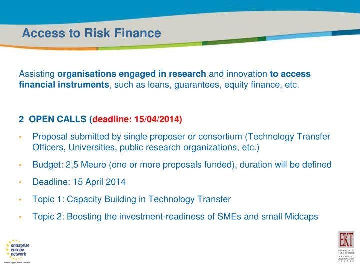 Access to Risk Finance