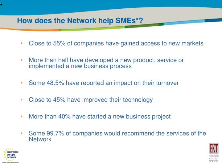 How does the Network help SMEs
