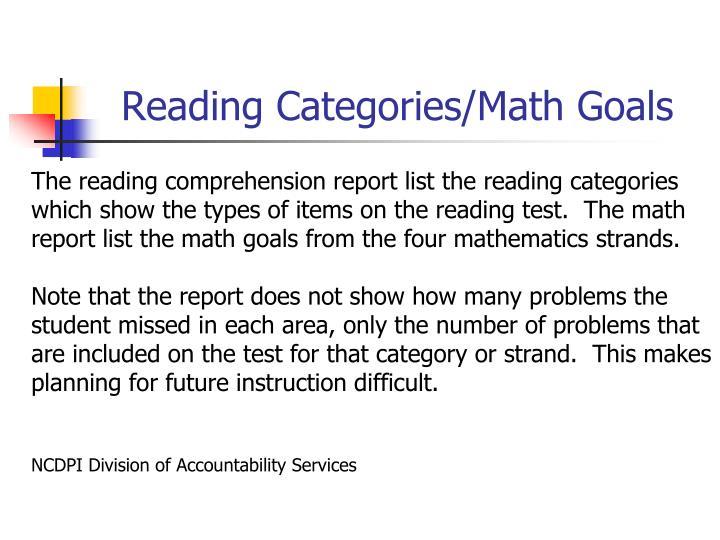 Reading Categories/Math Goals