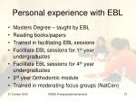 personal experience with ebl