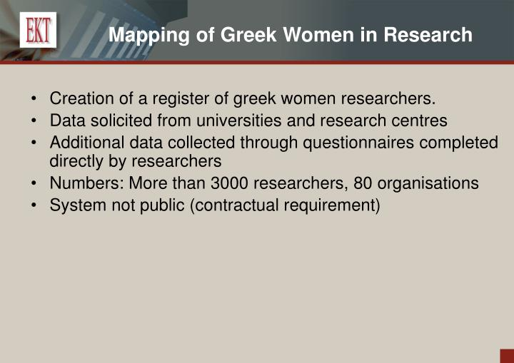 Mapping of Greek Women in Research