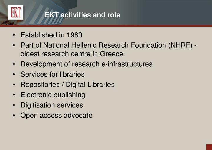EKT activities and role