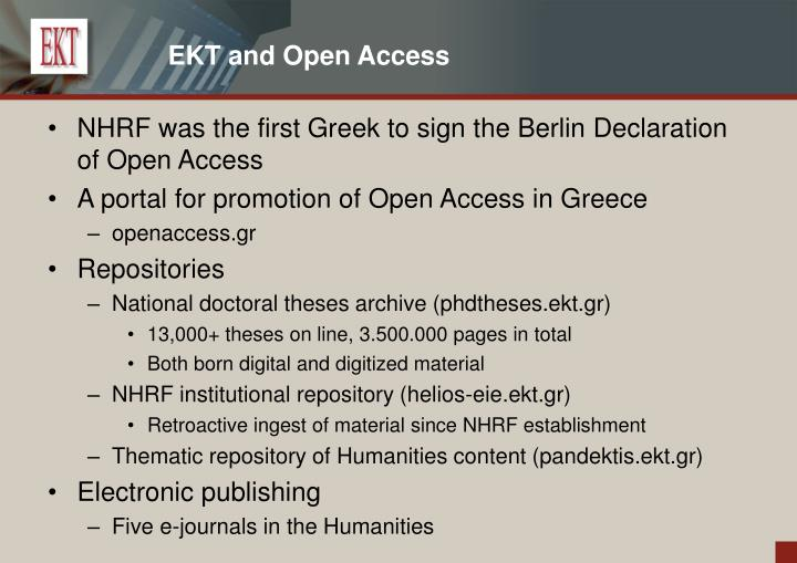EKT and Open Access
