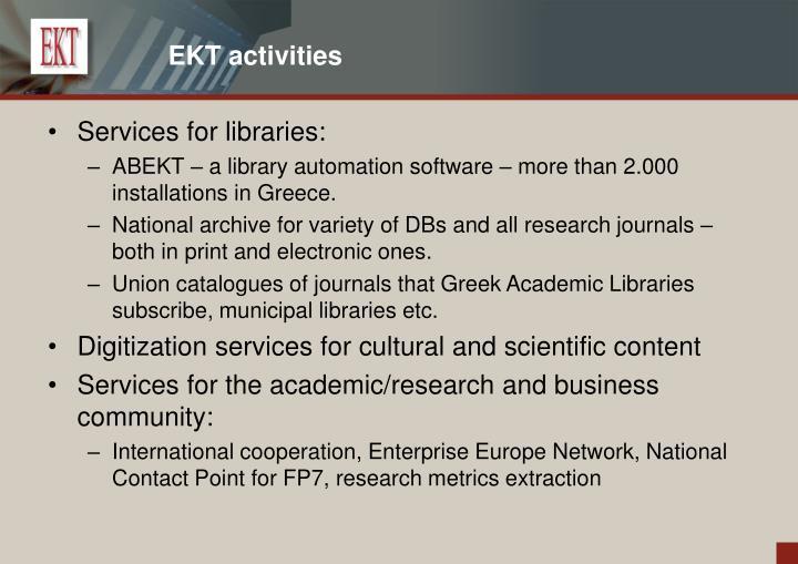 EKT activities