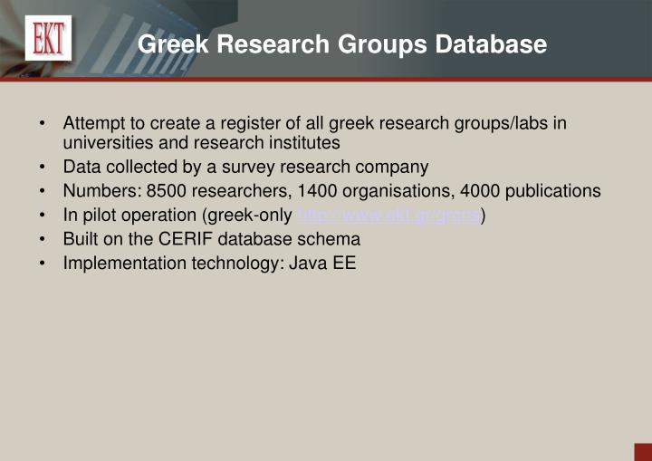 Greek Research Groups Database