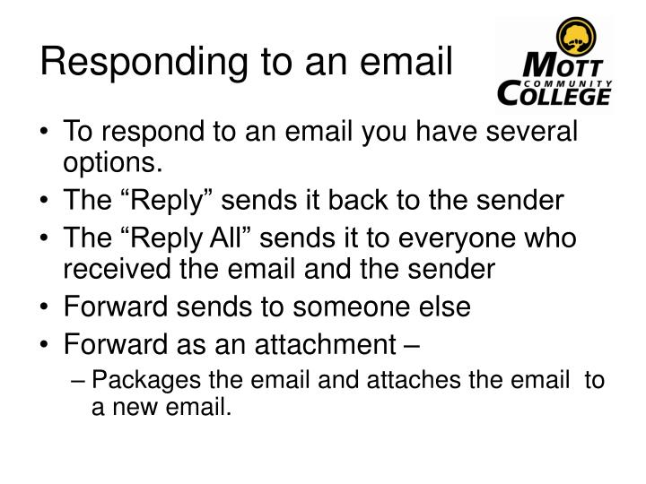 Responding to an email