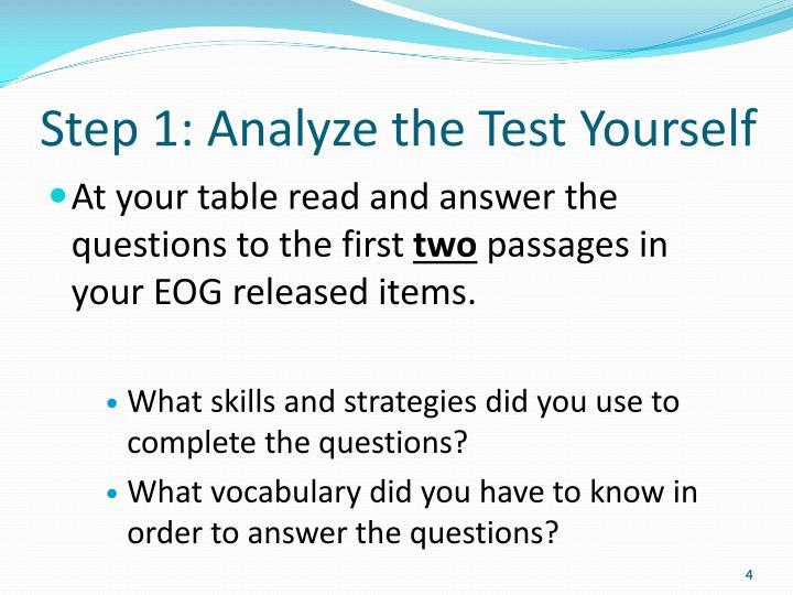 Step 1: Analyze the Test Yourself