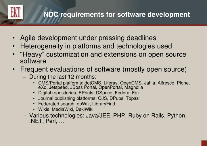 NDC requirements for software development