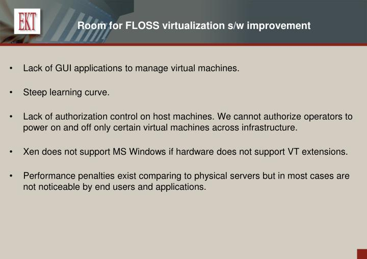 Room for FLOSS virtualization s/w improvement