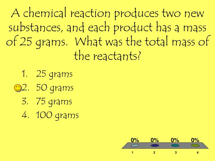 A chemical reaction produces two new substances, and each product has a mass of 25 grams.  What was the total mass of the reactants?