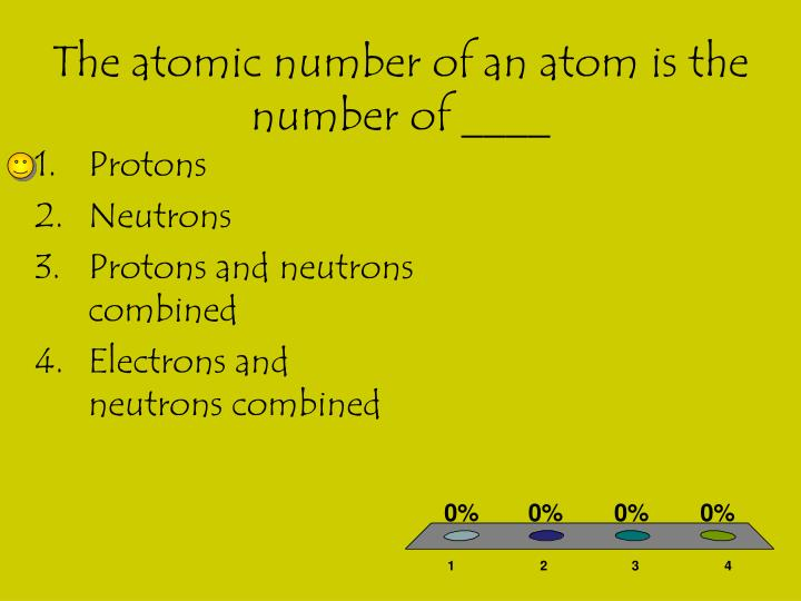 The atomic number of an atom is the number of ____