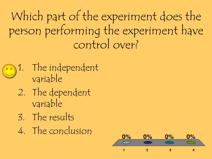 Which part of the experiment does the person performing the experiment have control over?