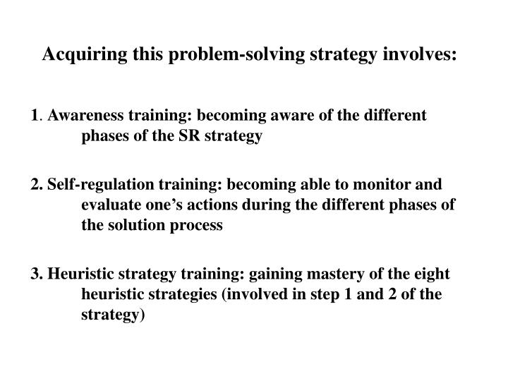 Acquiring this problem-solving strategy involves: