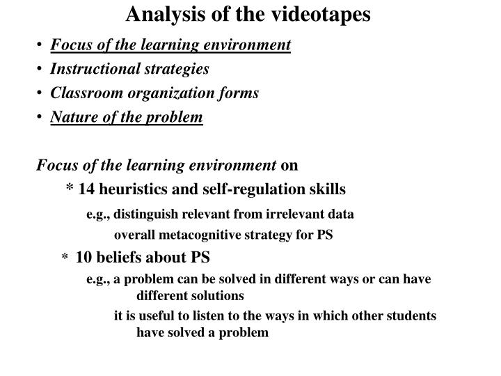 Analysis of the videotapes