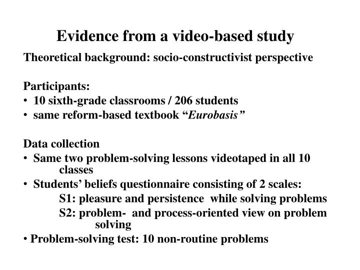 Evidence from a video-based study