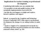 implications for teacher training en professional development