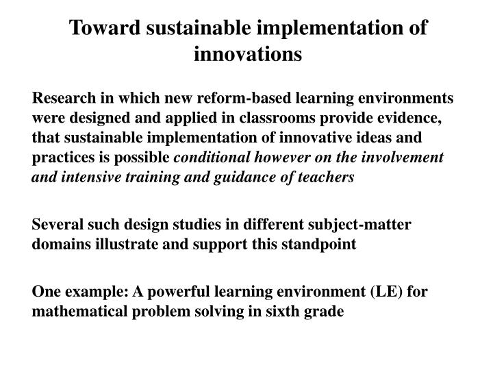 Toward sustainable implementation of innovations