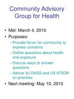 community advisory group for health