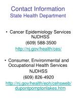 contact information state health department