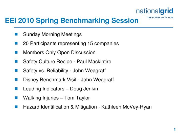 Eei 2010 spring benchmarking session