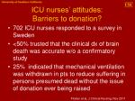 icu nurses attitudes barriers to donation