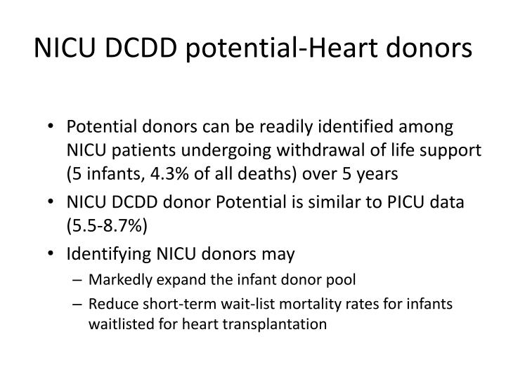 NICU DCDD potential-Heart donors