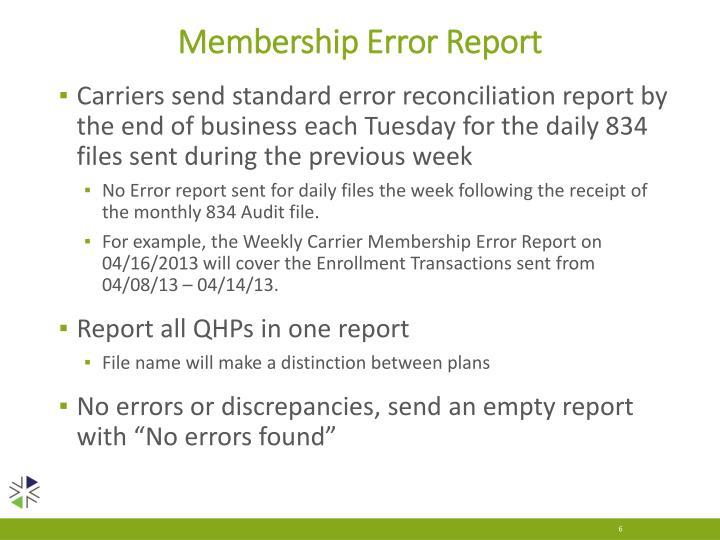 Membership Error Report
