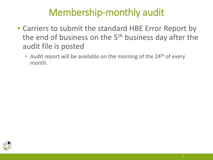 Membership-monthly audit