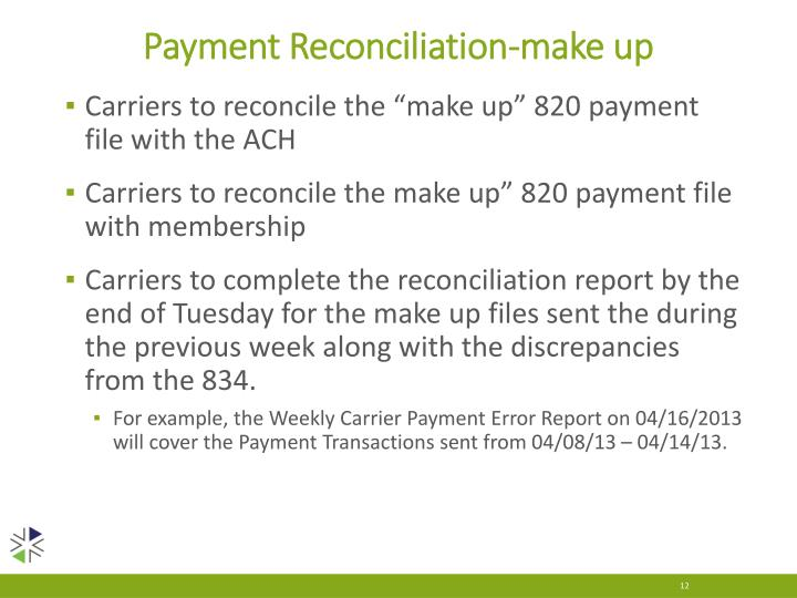 Payment Reconciliation-make up