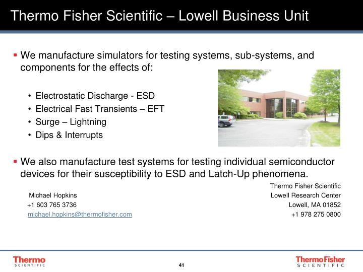 Thermo Fisher Scientific – Lowell Business Unit