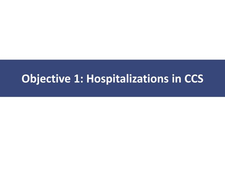Objective 1: Hospitalizations in CCS