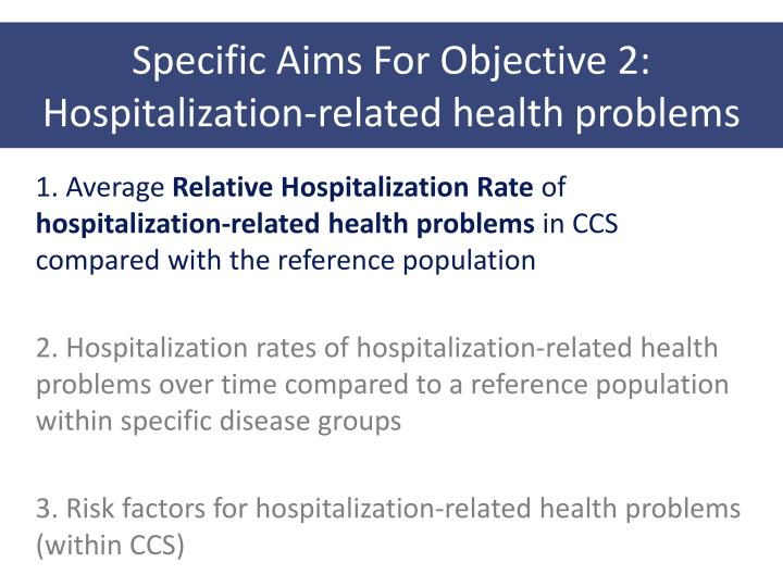 Specific Aims For Objective 2: Hospitalization-related health problems