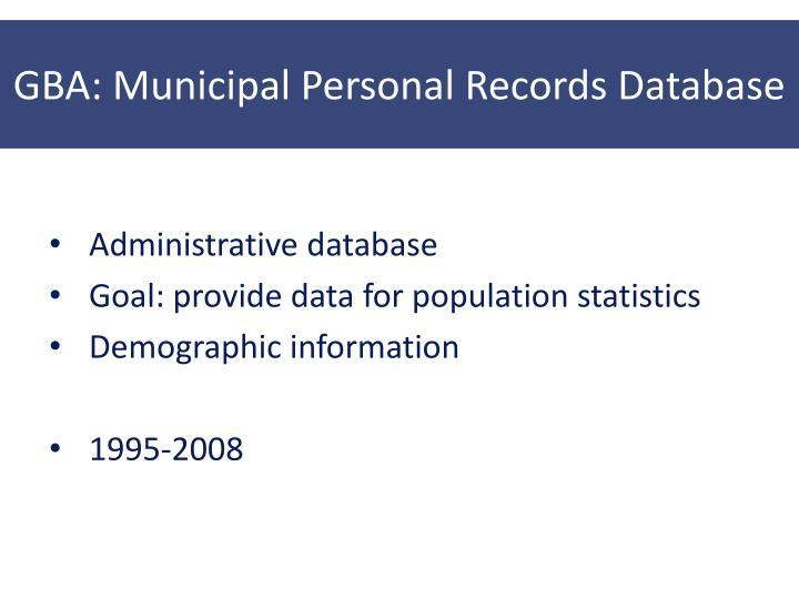 GBA: Municipal Personal Records Database