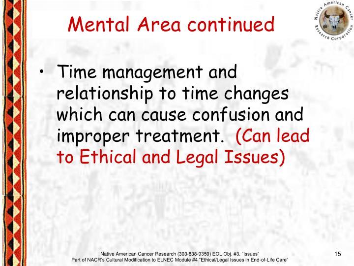Mental Area continued