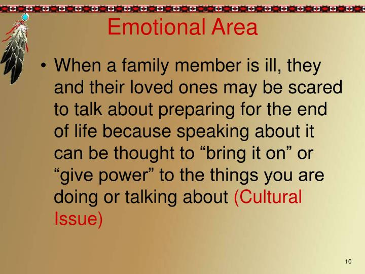 """When a family member is ill, they and their loved ones may be scared to talk about preparing for the end of life because speaking about it can be thought to """"bring it on"""" or """"give power"""" to the things you are doing or talking about"""